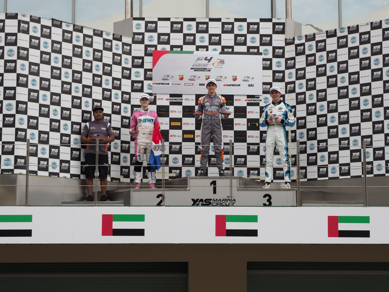 2019F4UAE Rnd4 Race 1 Podium